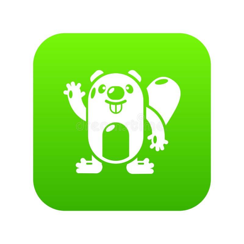 Vector del verde del icono del castor stock de ilustración