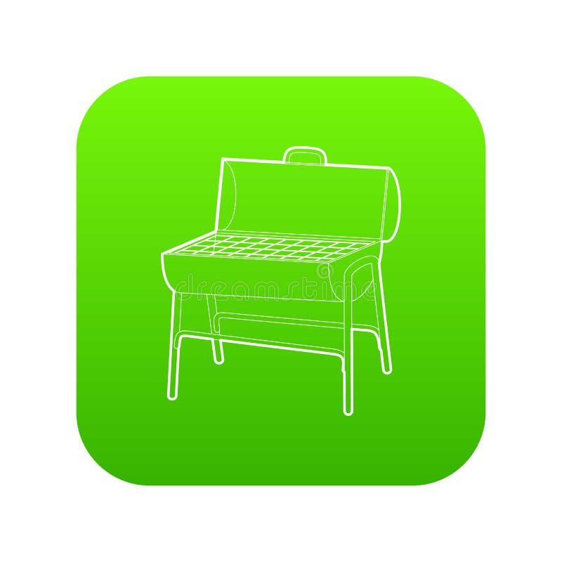 Vector del verde del icono de la barbacoa del metal ilustración del vector