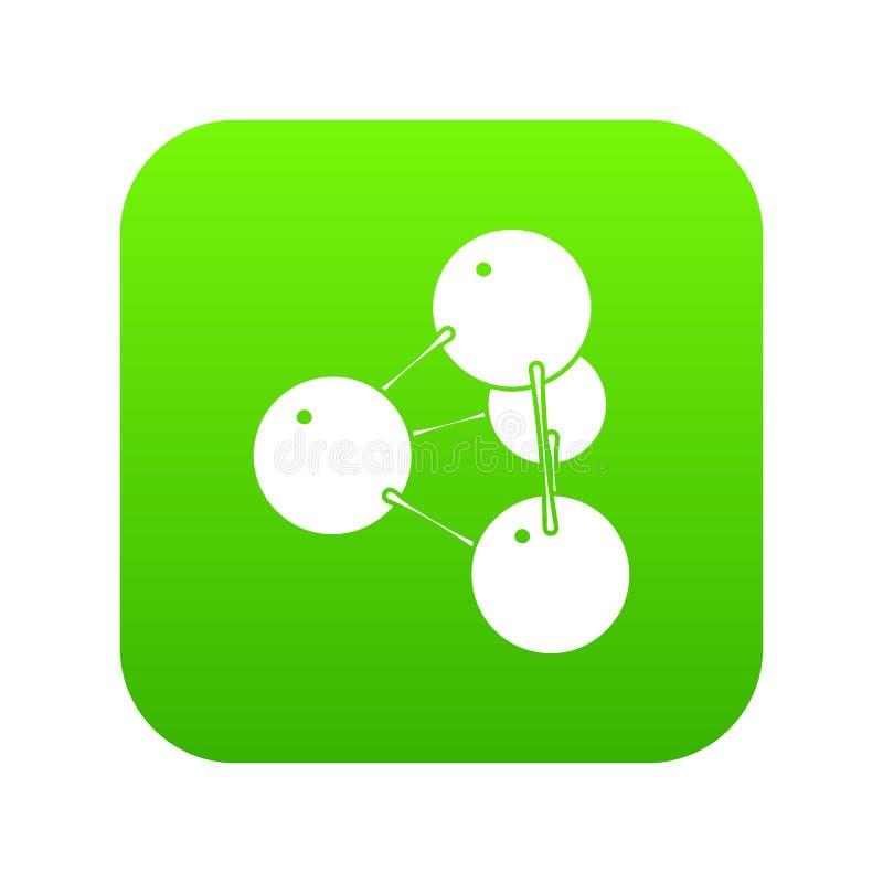 Vector del verde del icono de la molécula de Pyramide stock de ilustración