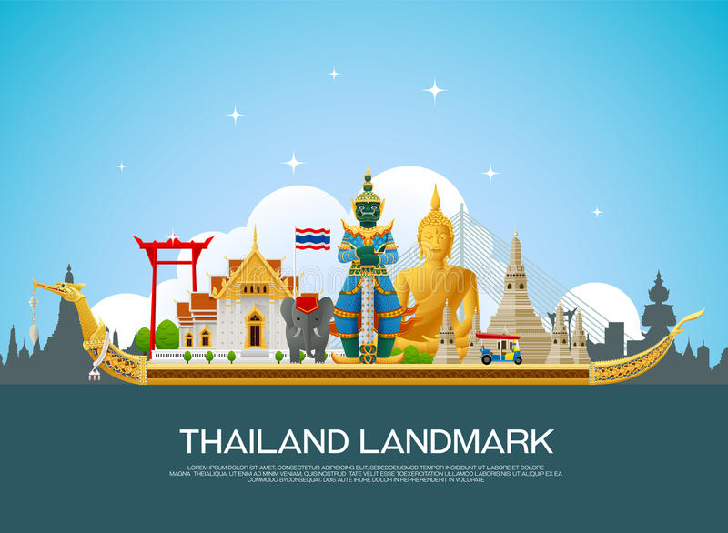 Vector del viaje de la señal de Tailandia fotografía de archivo