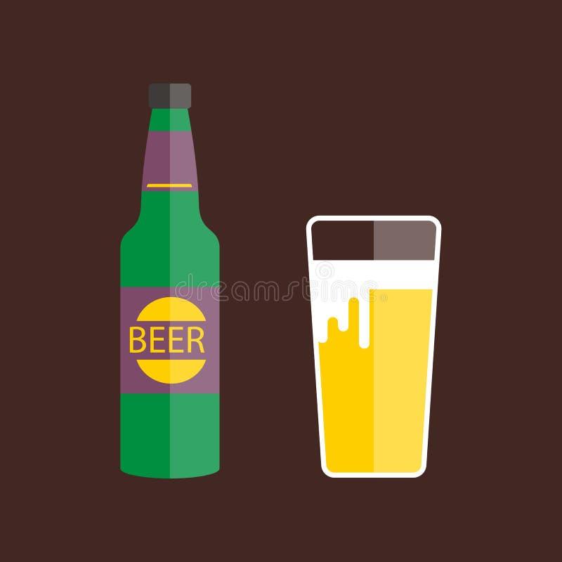 Vector del vidrio y de la botella de cerveza ilustración del vector