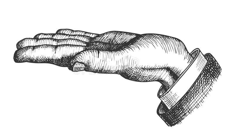 Vector del vintage de la dirección de la demostración del gesto de mano del hombre stock de ilustración