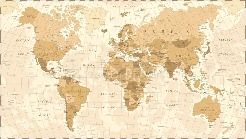 Vector del vintage del mapa del mundo stock de ilustración