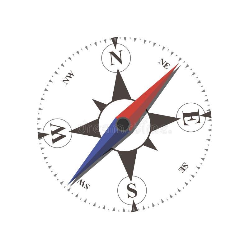 Vector del vintage náutico o viento marino color de rosa e iconos del compás planos, para el viaje, diseño de la navegación Estil libre illustration