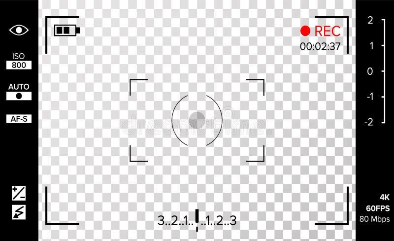 Vector del visor de la cámara Rejilla del foto o de la cámara de vídeo con los ajustes y las opciones del tiroteo en la pantalla  stock de ilustración