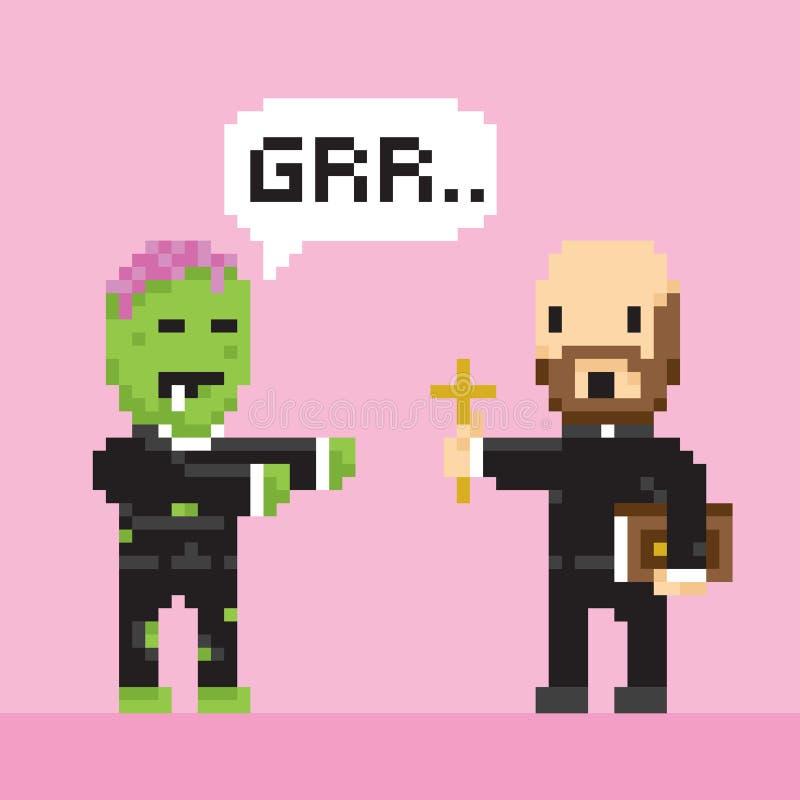 Vector del zombi y del sacerdote de Halloween del estilo del juego del arte del pixel ilustración del vector