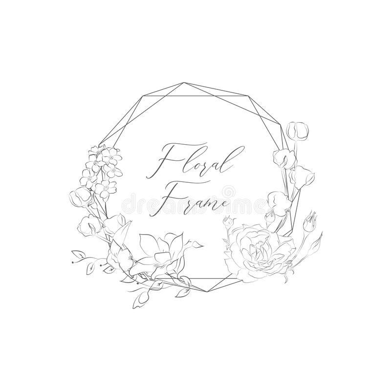 Free Vector Delicate Floristic Geometric Frame With Flowers Stock Photos - 127610003