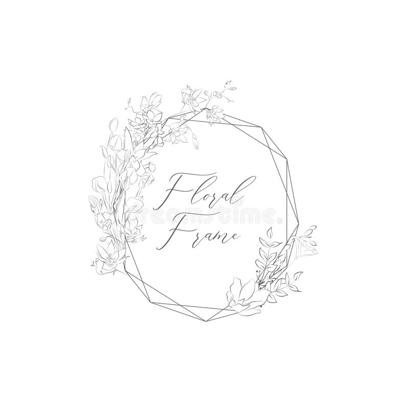 Free Vector Delicate Floristic Geometric Frame With Flowers Stock Photo - 127610140