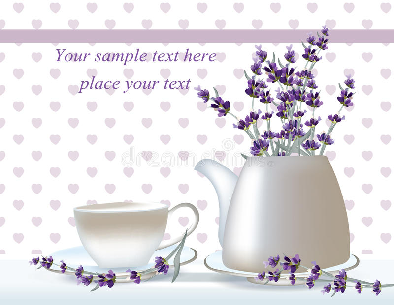 Vector delicate Tea time card. herbs banners with lavender. Design for herbal tea, natural cosmetics, health care. Products, homeopathy, aromatherapy. Place for stock illustration