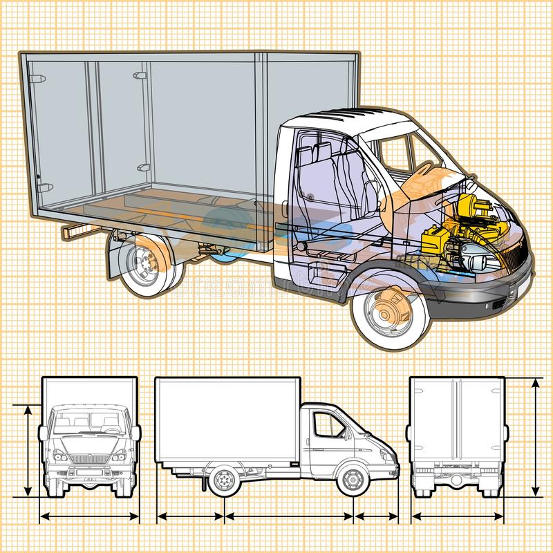 Vector delivery / cargo truck infographics cutaway stock images