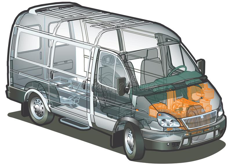 Vector delivery / cargo van infographics cutaway royalty free illustration