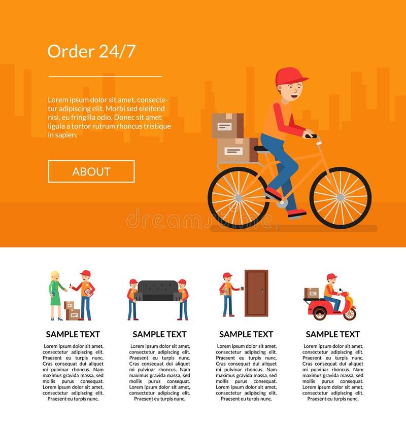 Vector delivery flat elements website landing page template illustration stock illustration
