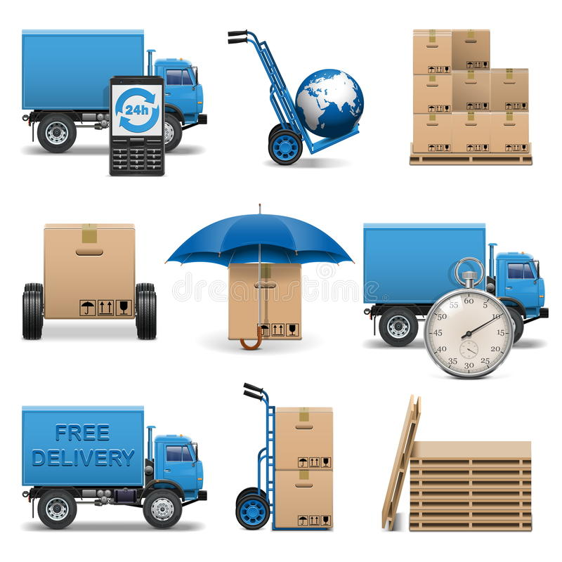 Free Vector Delivery Icons Set 4 Royalty Free Stock Photos - 36502178