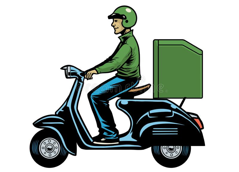 Delivery man courier riding old scooter stock illustration