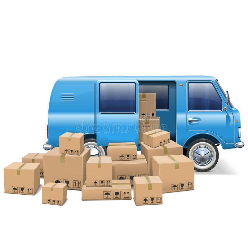 Vector Delivery Minivan. On white background stock illustration