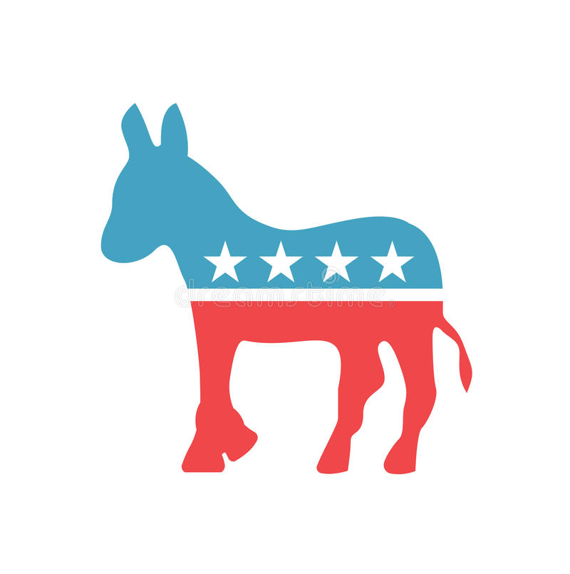 Vector democratic Donkey emblem. Democratic Donkey icon in american national colors. Isolated sign of Democratic Party of United royalty free illustration