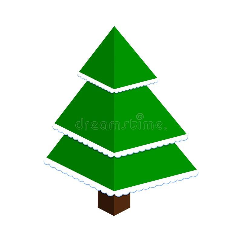 Vector den abstrakten Weihnachtsbaum, der von den grünen Dreiecken mit Schnee gemacht wird vektor abbildung