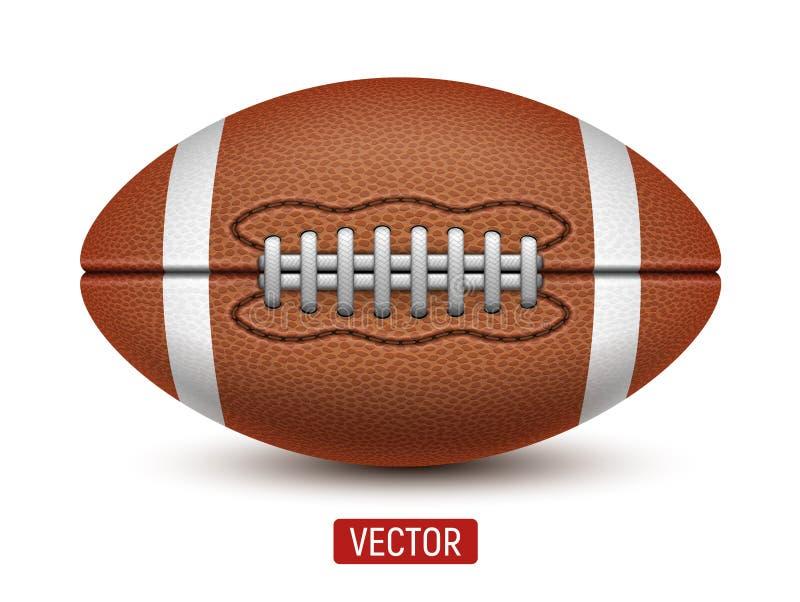 Vector den amerikanischen Fußball oder Rugbyball, die über einem weißen Hintergrund lokalisiert werden vektor abbildung