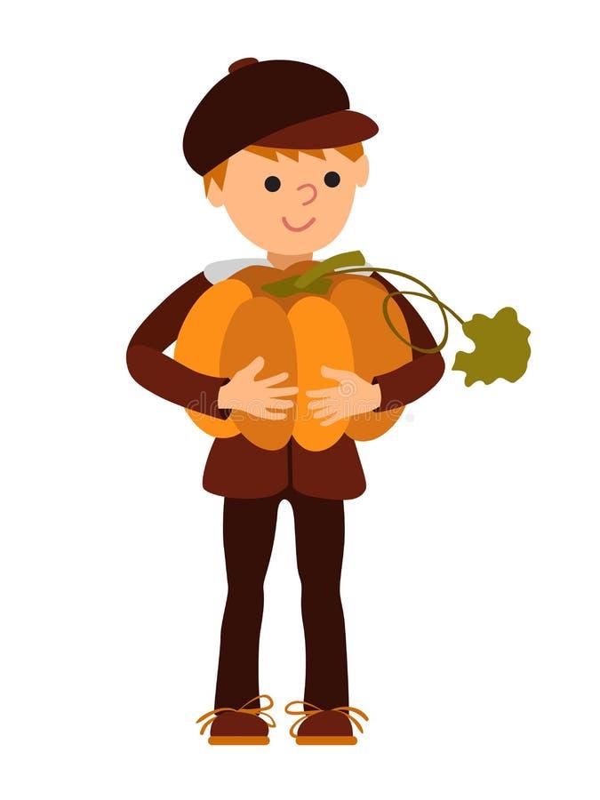 Vector den netten kleinen Jungen der Illustration, der einen großen Kürbis lokalisiert auf weißem Hintergrund für glückliche Dank stock abbildung