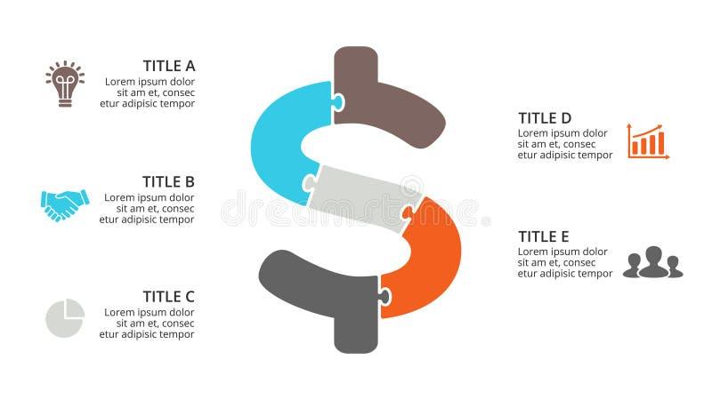 Vector den Puzzlespieldollar infographic, Zyklusdiagramm, Gelddiagramm, Darstellungsdiagramm Geschäftswährungskonzept mit 5 lizenzfreie abbildung