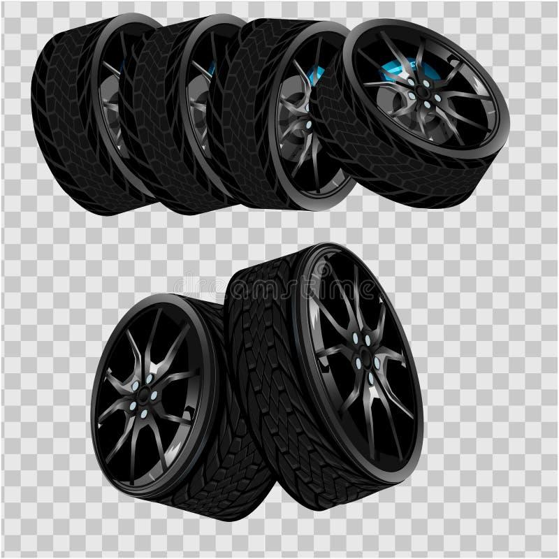 Vector den realistischen schwarzen Reifen 3d, der im Stapel, in glänzendem Stahl und im Gummirad für Auto, das Automobil gestapel stock abbildung