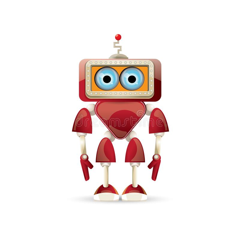 Vector den roten freundlichen Robotercharakter der lustigen Karikatur, der auf weißem Hintergrund lokalisiert wird Scherzt Spielz vektor abbildung