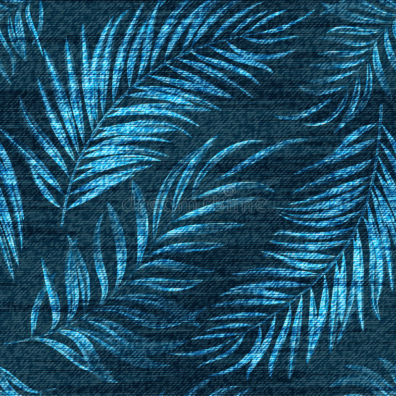 Vector denim exotic palm leaf seamless pattern. Faded jeans background with tropical plants. Blue jeans cloth background royalty free illustration