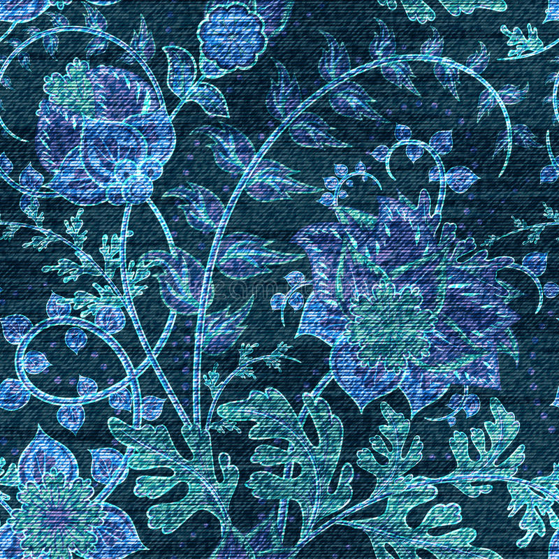 Vector Denim floral seamless pattern. Jeans background with Rose flowers. Blue cloth royalty free illustration