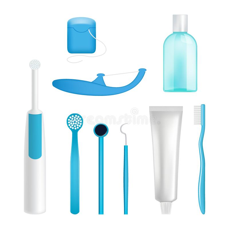 Vector dental cleaning tools set. Toothpaste, toothbrush, mouthwash, dental floss, scraper and toothpick. Oral care products, teeth cleaning kit realistic royalty free illustration