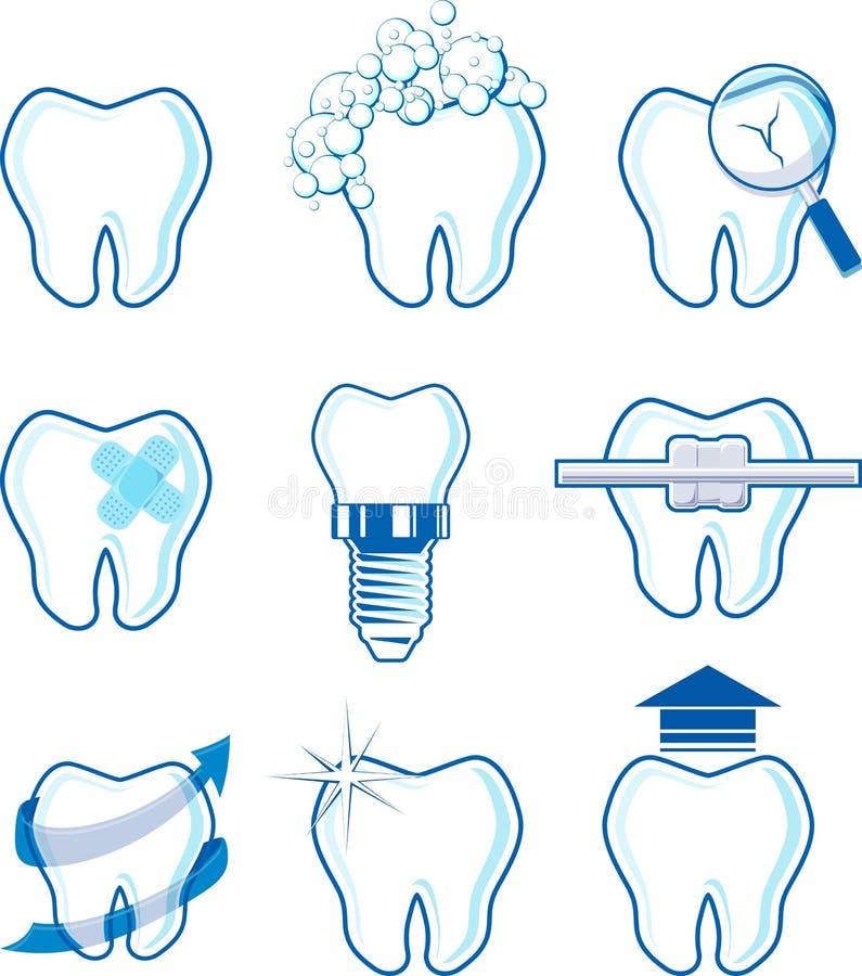 Vector dental de los iconos ilustración del vector