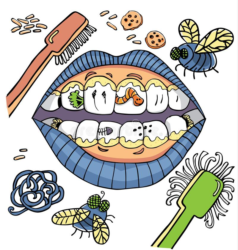 Vector dental hygiene humour with mouth showing dirty teeth with worms and plaque and vegetables. stock illustration