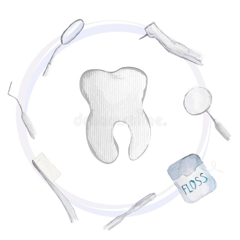 Vector dentistry instruments and oral care concept. Elegant simple illustrations of watercolor royalty free illustration
