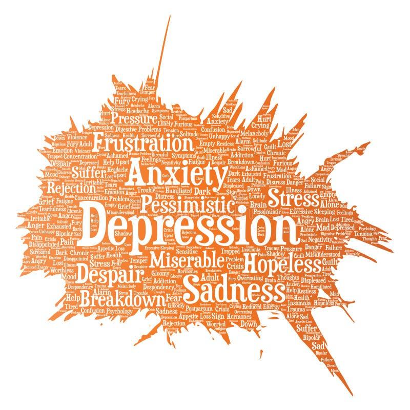 Vector depression mental emotional disorder problem. Vector conceptual depression or mental emotional disorder problem paint brush word cloud isolated background royalty free illustration