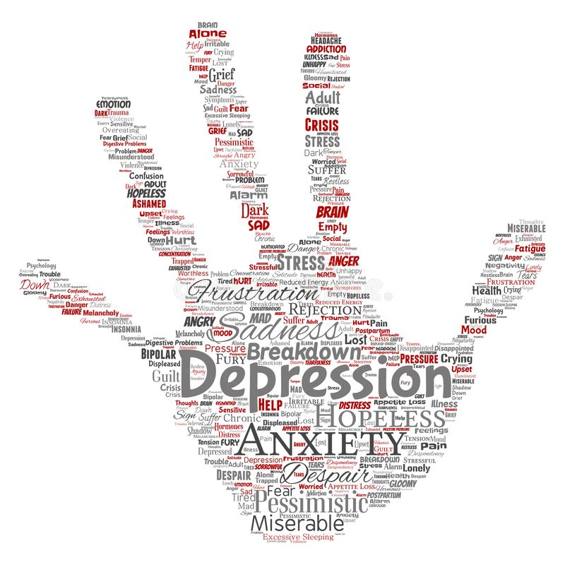 Vector depression or mental emotional disorder problem hand print stamp word cloud isolated background. Collage of anxi. Vector conceptual depression or mental royalty free illustration