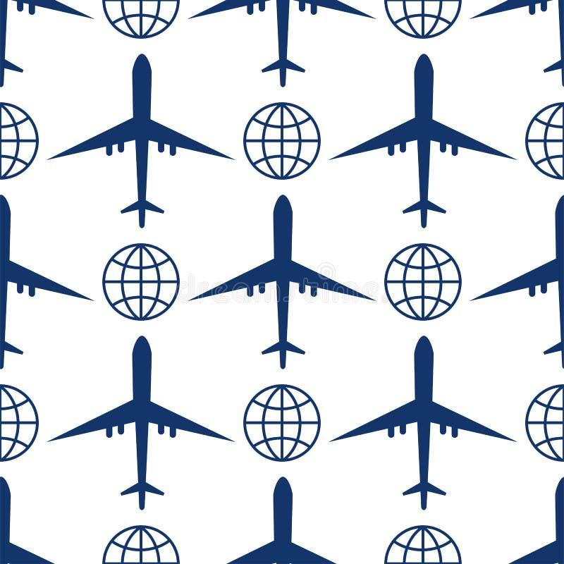 Vector der Draufsicht- und Flugzeugtransportreiseweisendesign-Reise der Flugzeugillustration nahtloses Muster lizenzfreie abbildung