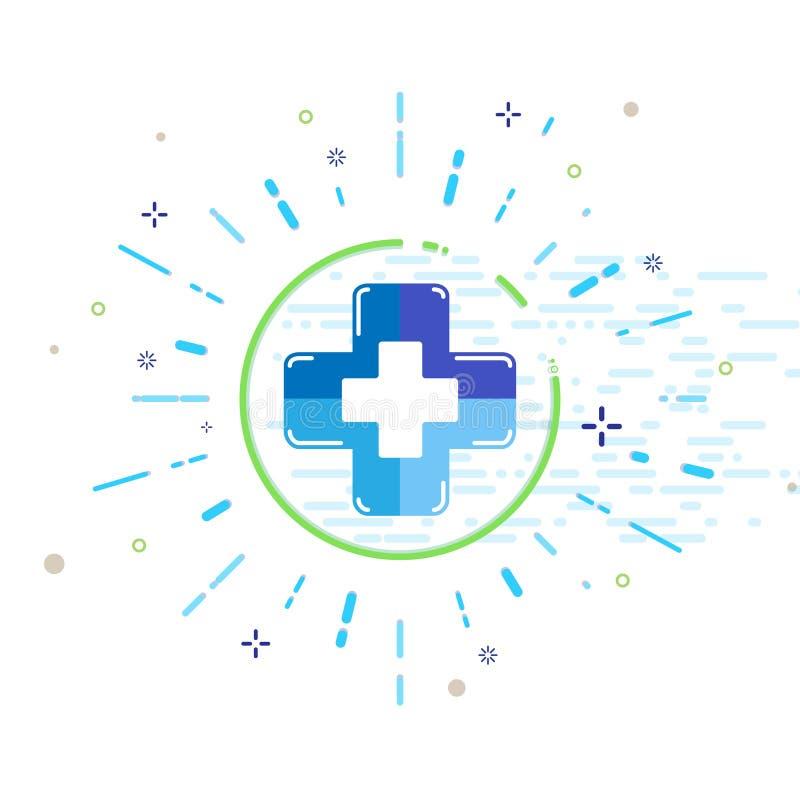 Vector der Logo-Ikone des medizinischen Gesundheitswesenkrankenhauses klinisches angeredetes modisches Design MBE lizenzfreie abbildung