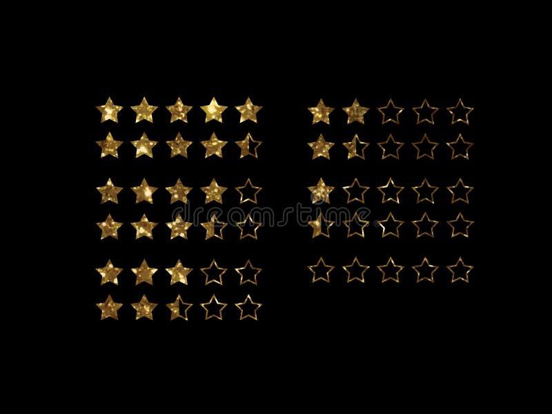 Vector des Bericht-Feedbacks fünf des goldenen Funkelns on-line-Einkaufsstern stock abbildung
