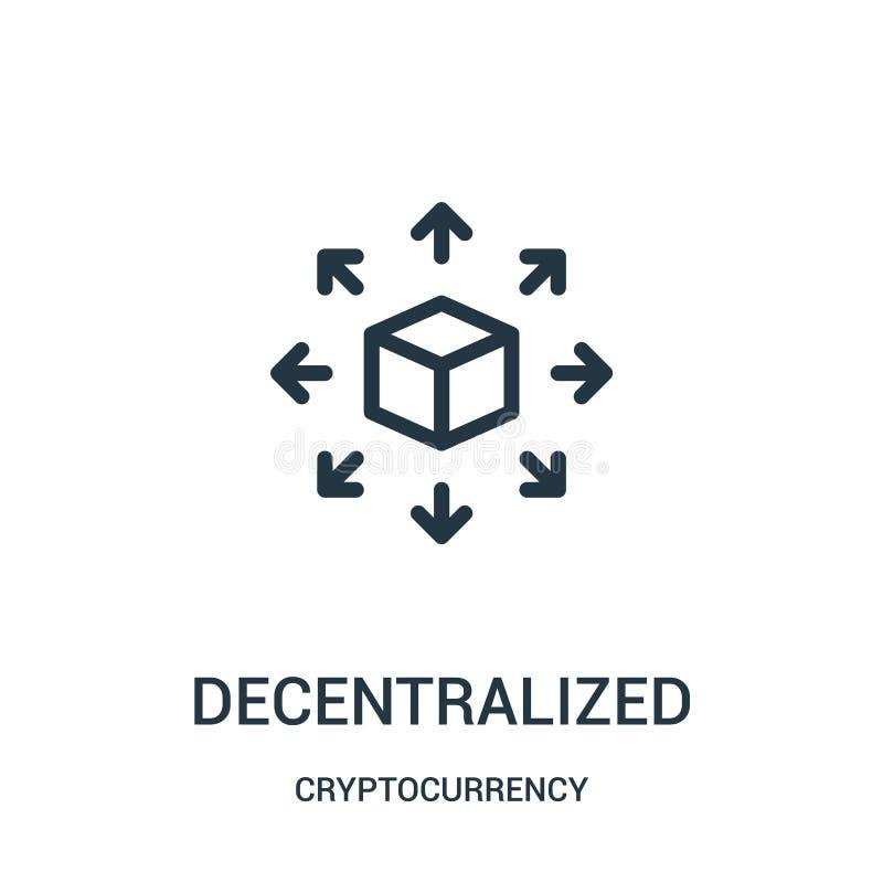 vector descentralizado del icono de la colección del cryptocurrency Línea fina ejemplo descentralizado del vector del icono del e stock de ilustración