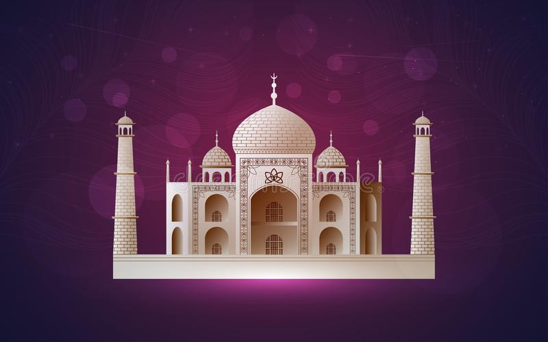 Vector design of ancient temple at night. Ramadan kareem royalty free illustration