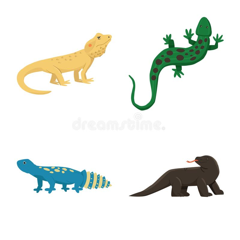 Vector design of animal and reptile icon. Collection of animal and nature vector icon for stock. Vector illustration of animal and reptile symbol. Set of animal vector illustration