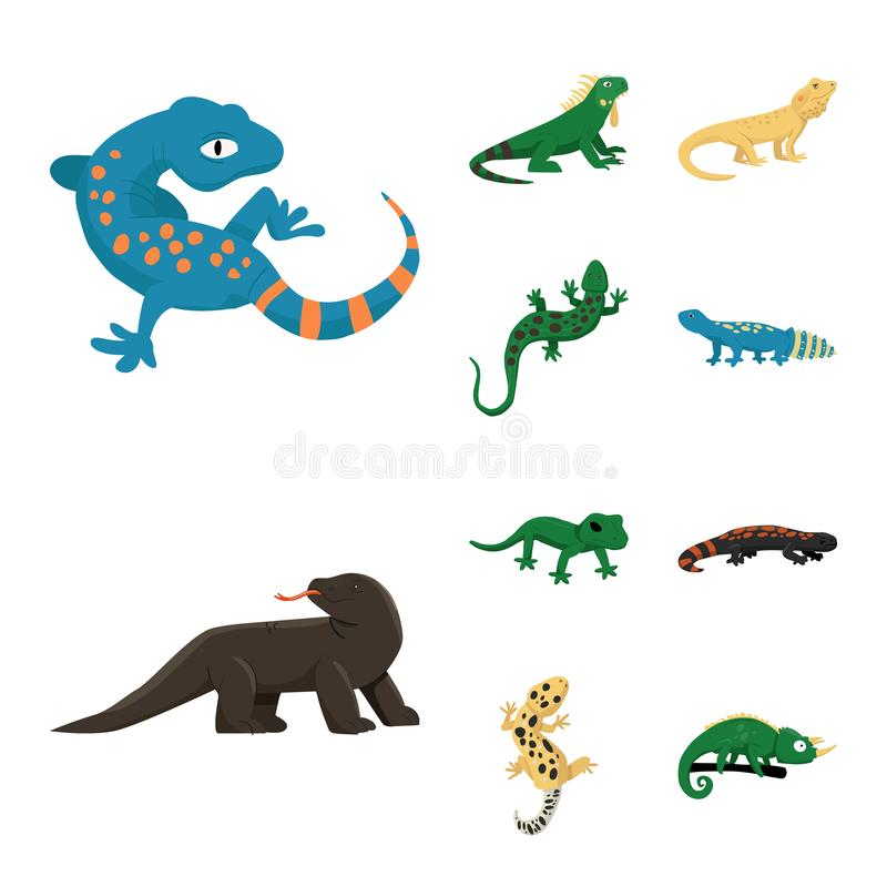 Vector design of animal and reptile logo. Collection of animal and nature stock symbol for web. Vector illustration of animal and reptile icon. Set of animal vector illustration