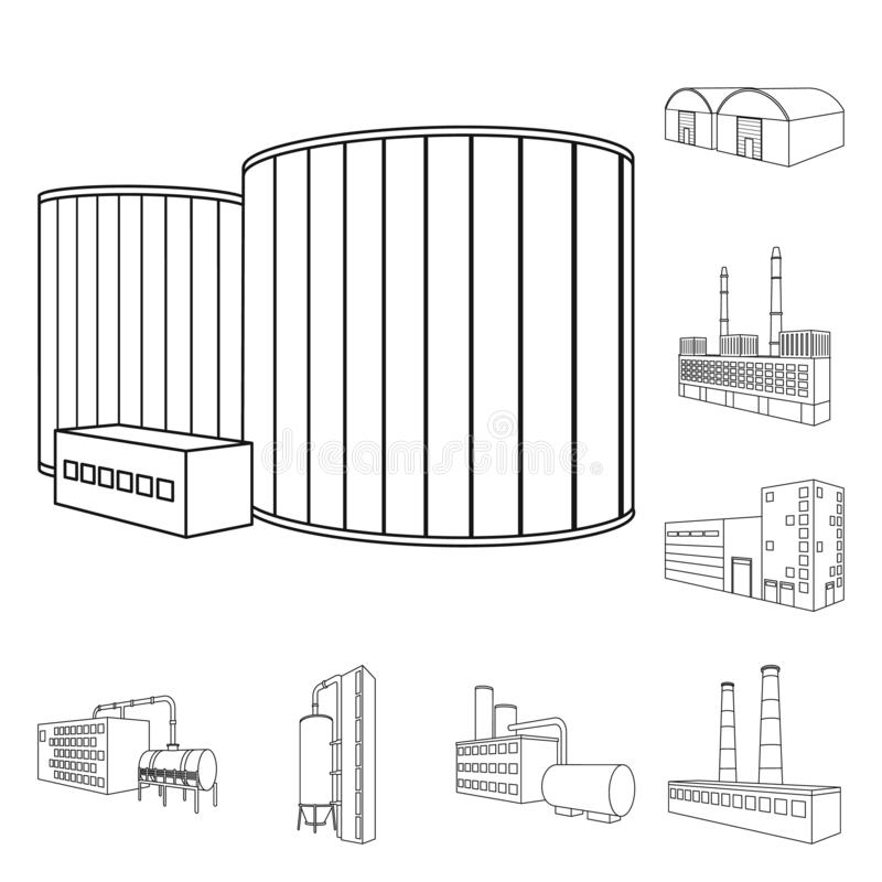 Isolated object of architecture and industrial icon. Collection of architecture and building stock symbol for web. Vector design of architecture and industrial stock illustration