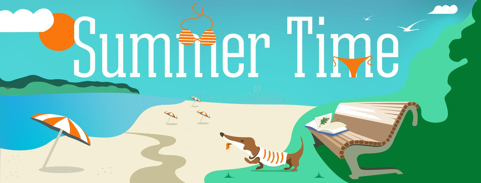 Vector design banner with text It`s Summer time. Illustration of shells, swimsuit, parasol, dog, sand, clouds, the beach elements vector illustration