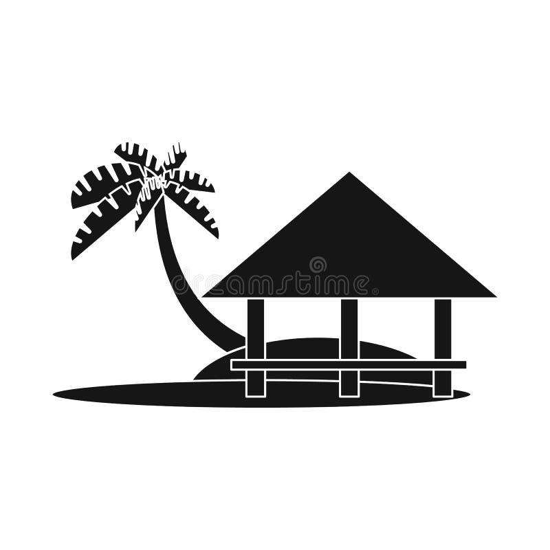 Vector design of beach and bungalow symbol. Set of beach and romantic stock symbol for web. Vector illustration of beach and bungalow sign. Collection of beach vector illustration