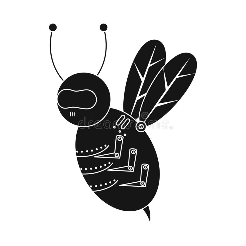 Isolated object of bee and insect icon. Collection of bee and steampunk stock vector illustration. stock illustration