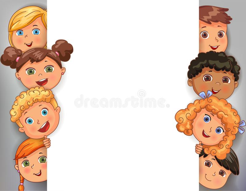 Vector design white blank banner with faces cute kids stock illustration