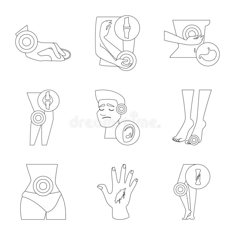 Vector design of bone and inflammation  symbol. Set of bone and wound vector icon for stock. Vector illustration of bone and inflammation  sign. Collection of vector illustration
