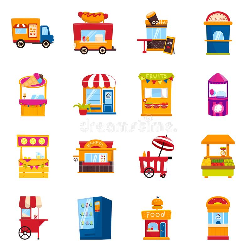 Vector design of and booth icon. Collection of and vending vector icon for stock. Vector illustration of and booth symbol. Set of and vending stock symbol for royalty free illustration