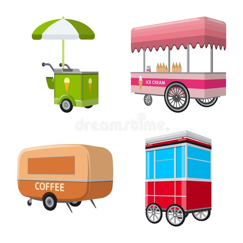 Isolated object of booth and kiosk logo. Collection of booth and small stock symbol for web. Vector design of booth and kiosk icon. Set of booth and small stock royalty free illustration