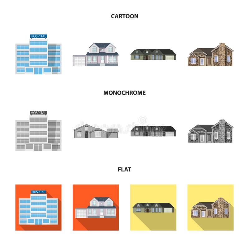 Vector design of building and front logo. Set of building and roof vector icon for stock. Vector illustration of building and front icon. Collection of building royalty free illustration